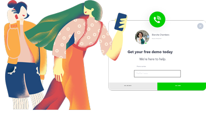 one blue hat girl talking on phone one yellow hat girl looking at the other and holding her phone get your free demo today increase phone call popup design