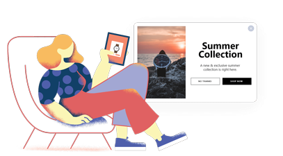 a woman sitting on a chair holding her ipad and looking at a watch picture summer collection popup design by popupsmart  shop now call to action