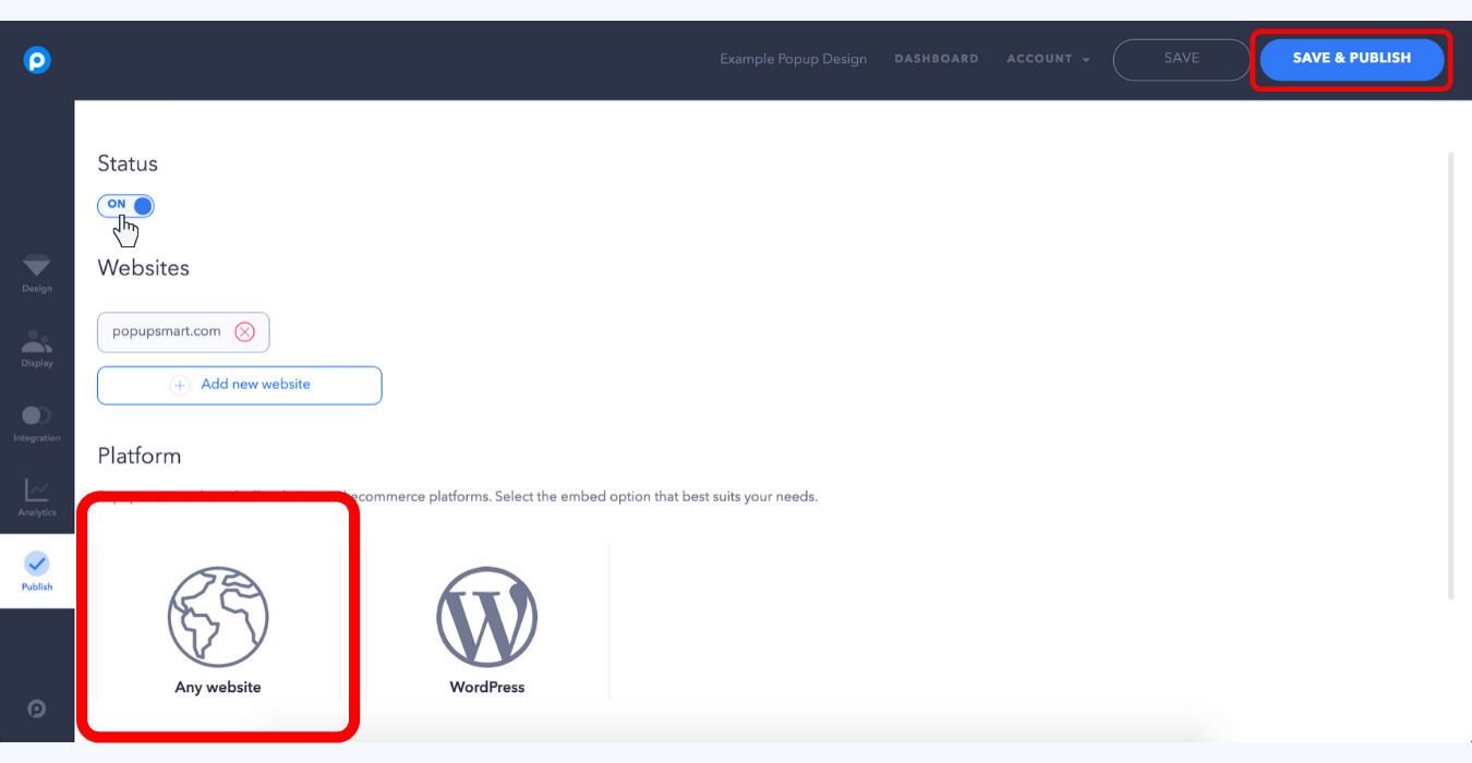 where you can get your popupsmart popup embed code to publish tab