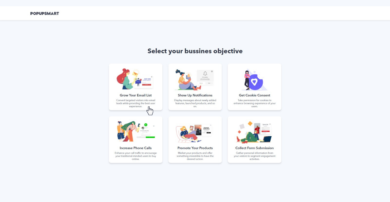 select your business objective of creating this popup campaign with popupsmart