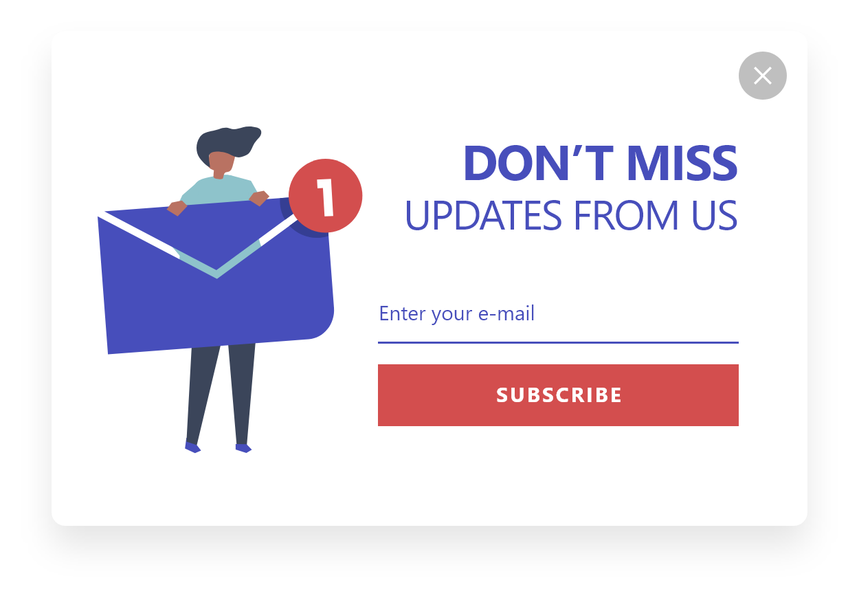 dont miss updates from us newsletter popup design by popupsmart