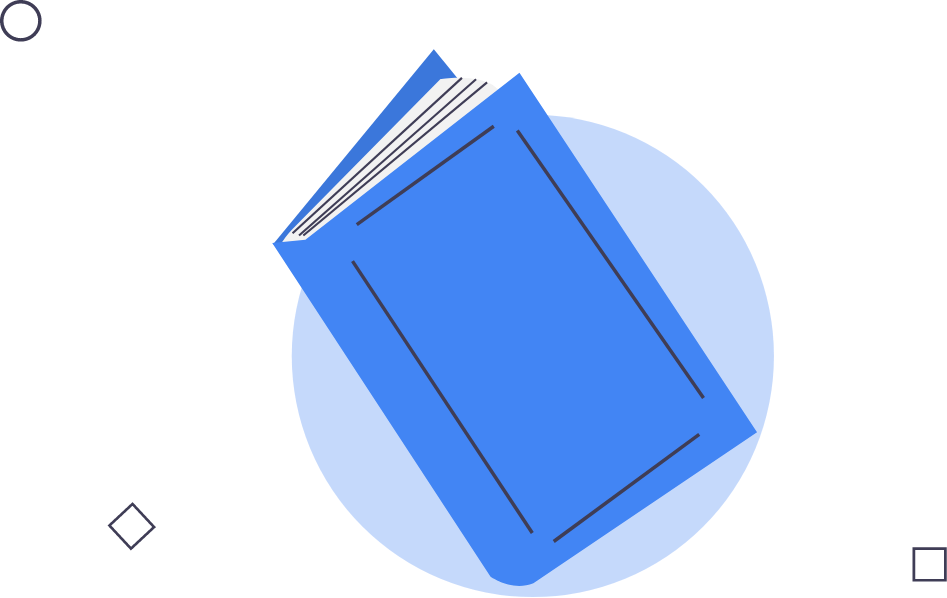 a blue book a blue notebook circle and two square