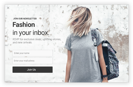 fashion in your box newsletter popup design by popupsmart with join us call to action