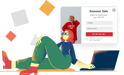 woman lying and browsing on her computer popupsmart's popup summer sale promotion products design