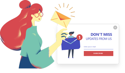 red hat woman an envelop on her hand dont't miss updates from us subscribe call to action popup design by popupsmart