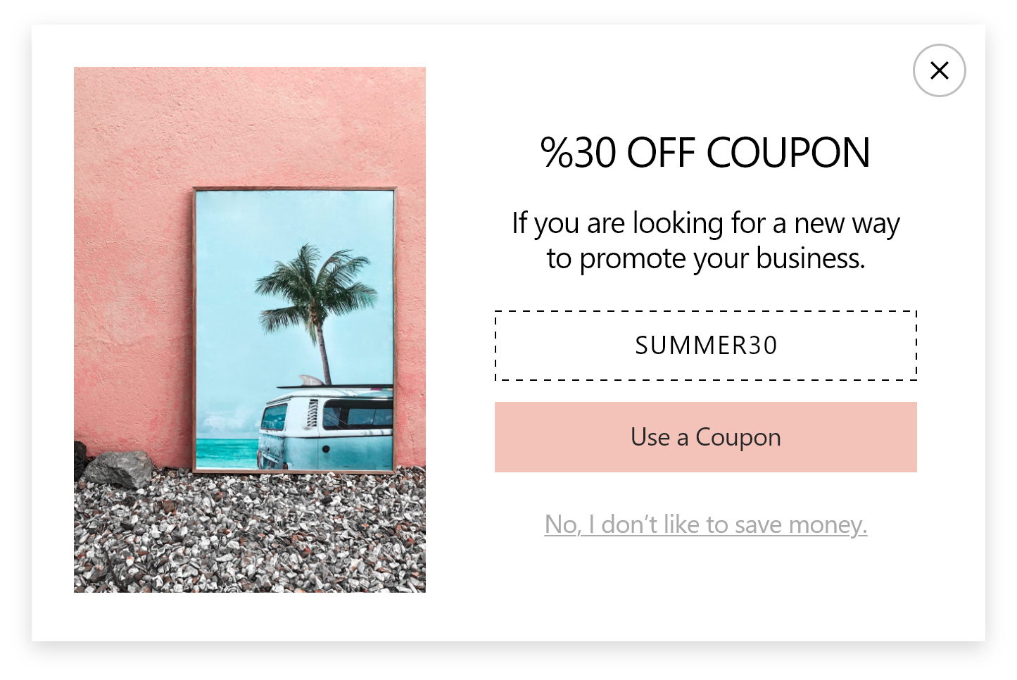 30% off coupon discount promotional popup design