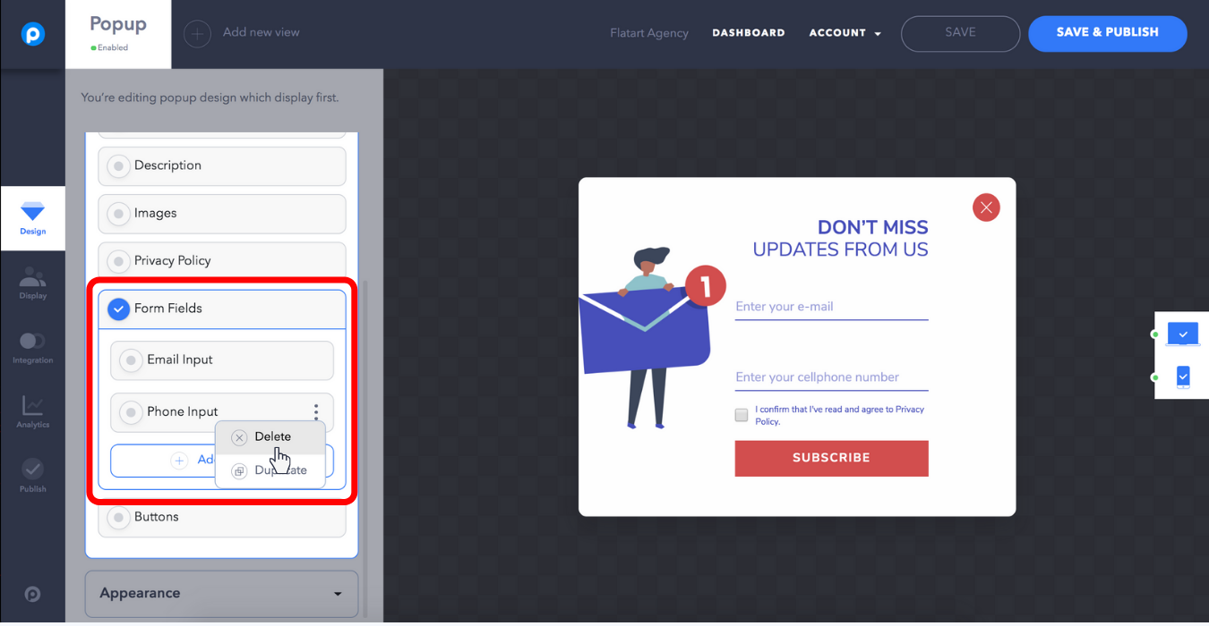popupsmart popup builder dashboard remove a form field from your popup design