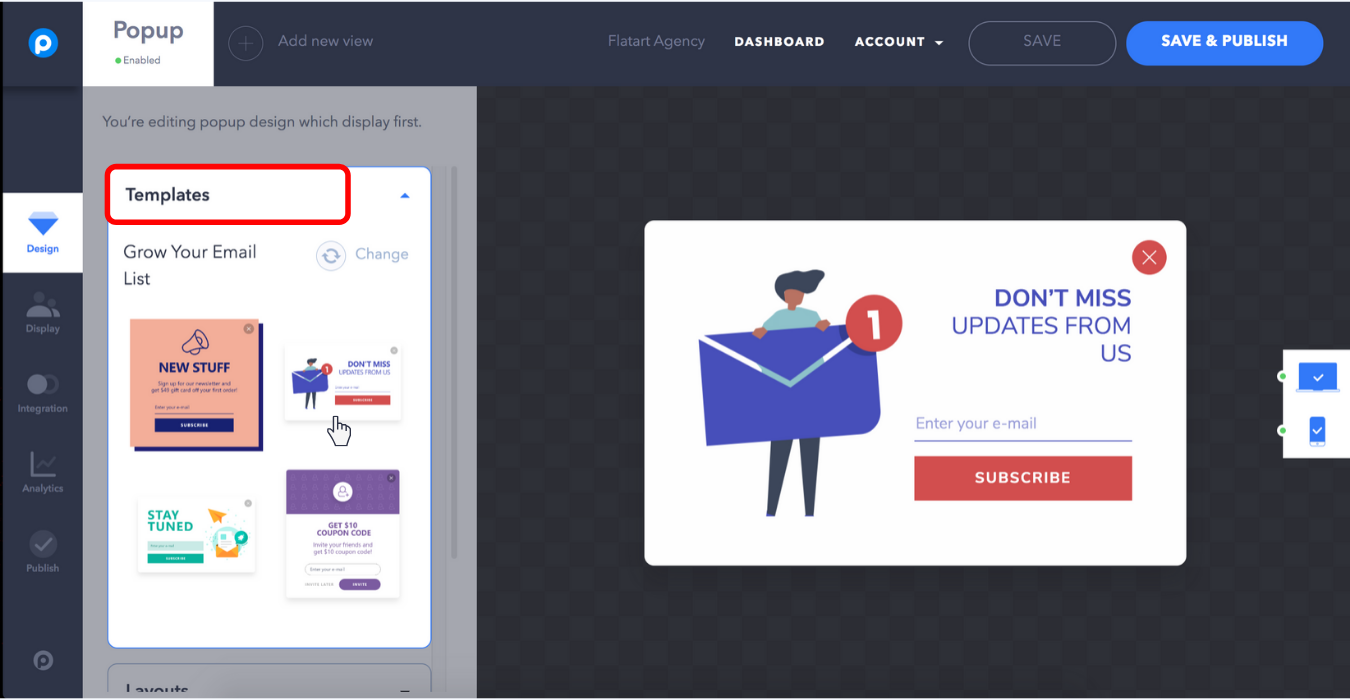 popupsmart popup builder dashboard choose template grow your email list
