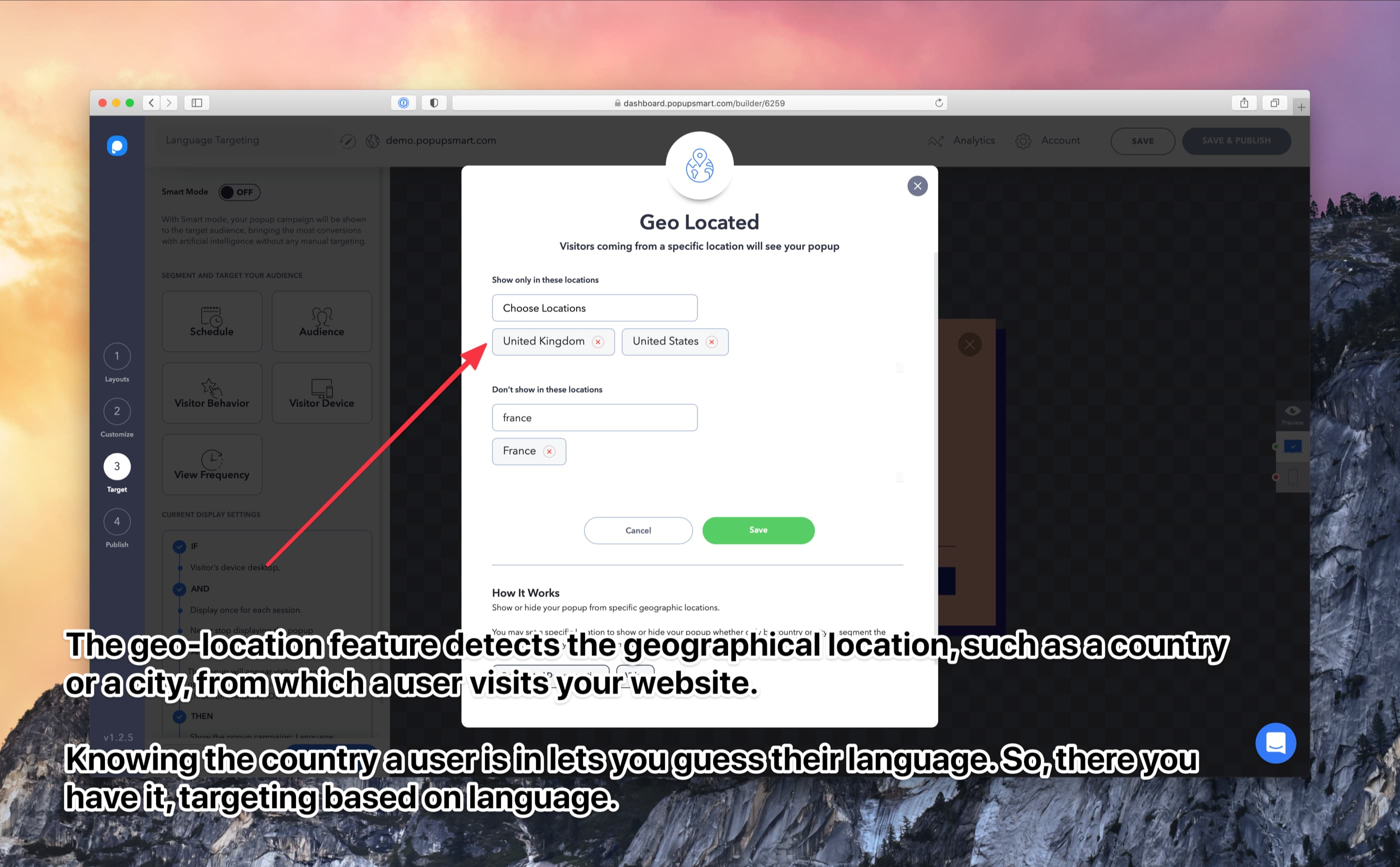 geo-location targeting to detect visitors language
