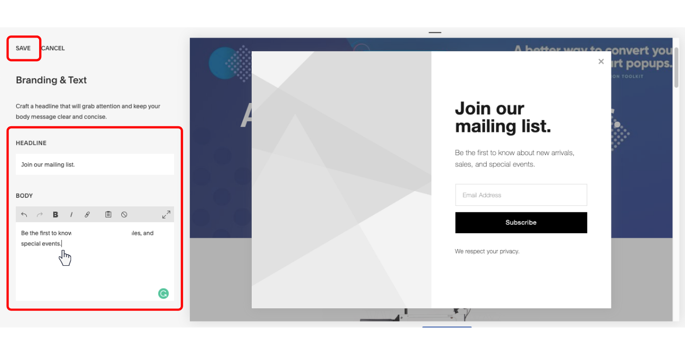 how to change text on your squarespace popup