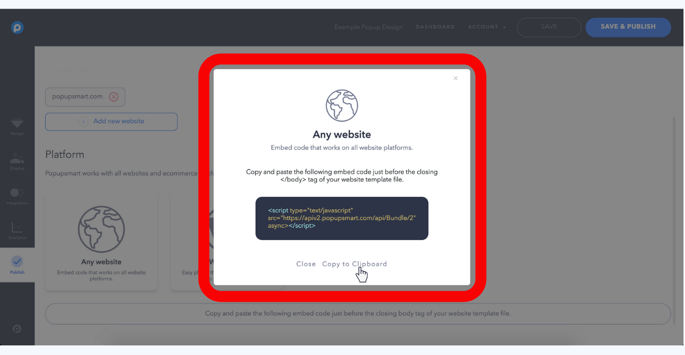 how to copy popup embed code for any websites popupsmart