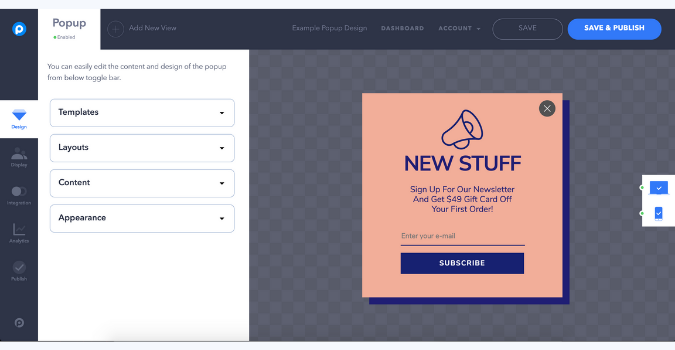 design your popup with popupsmart's smart popup builder