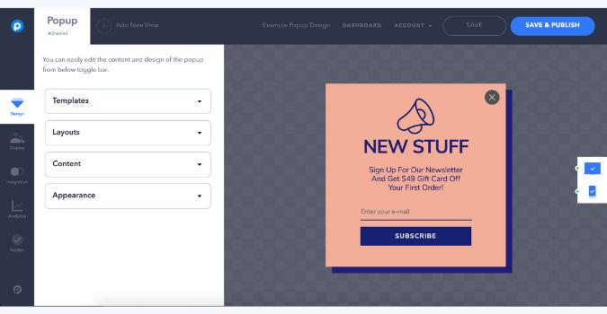 design your popup with popupsmart's smart popup builder