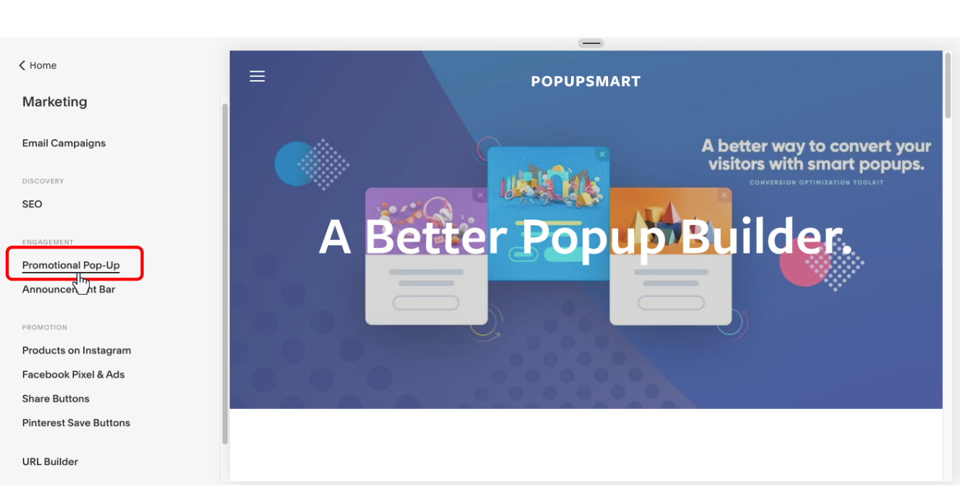 create promotional popup on your squarespace website