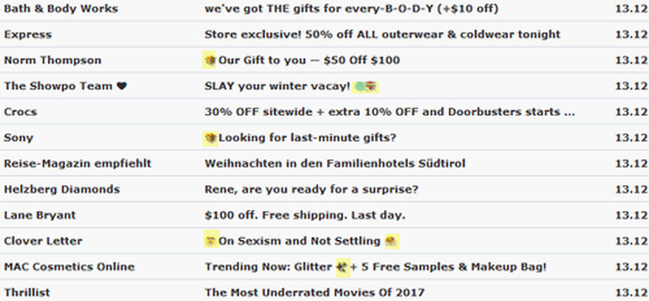 ILENE: Catchy subject lines for dating emails