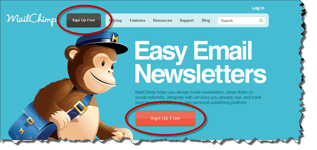MailChimp call to action example in an email newsletter.