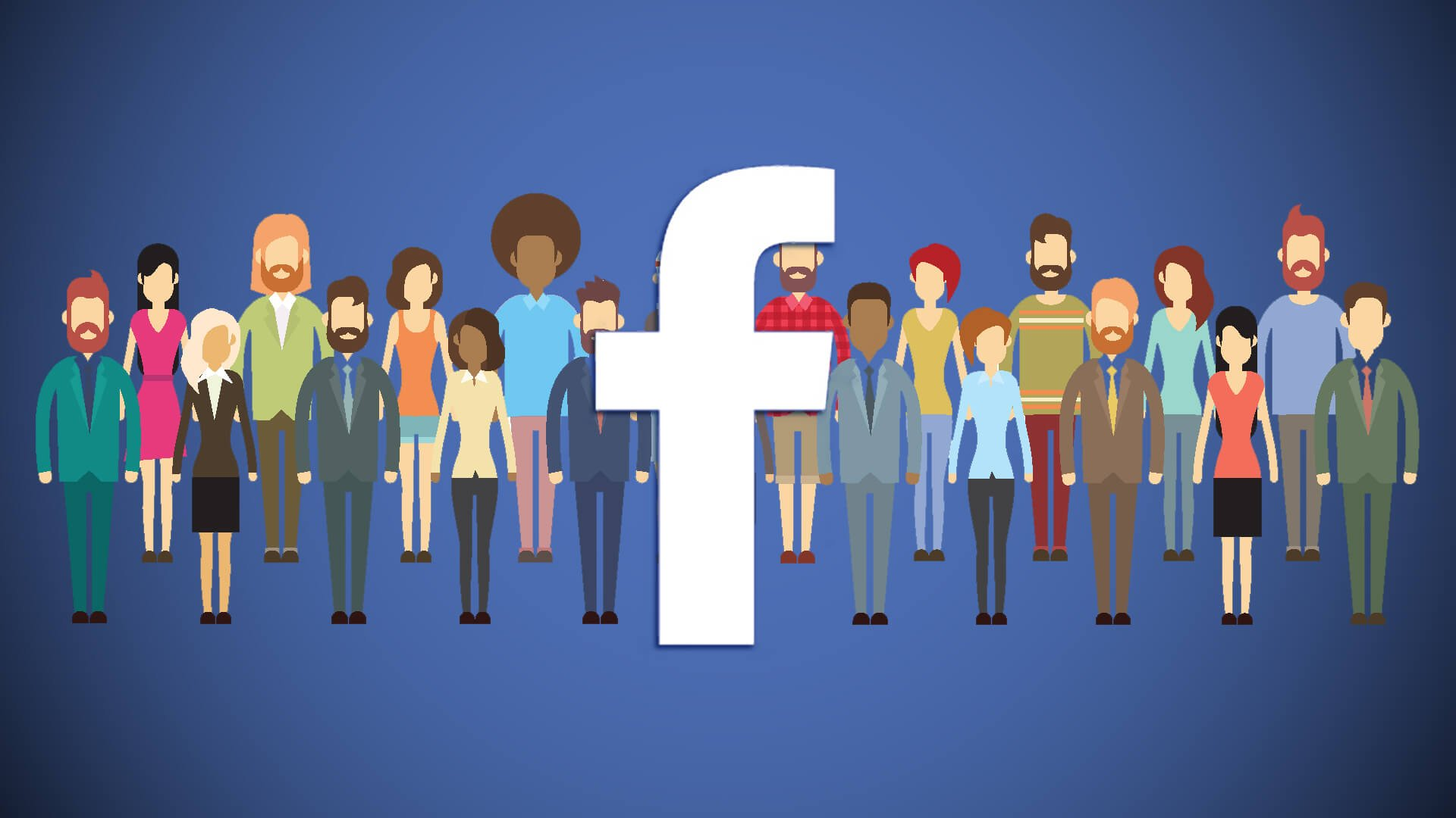 Illustration of Facebook icon with people.