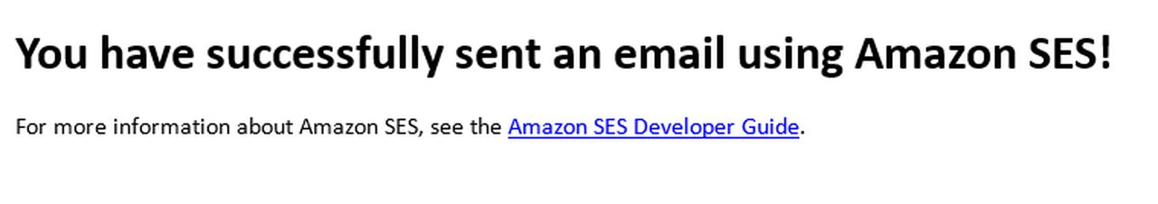 Amazon Ses Console competing email sending test warning.