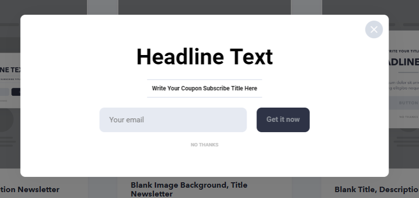 popupsmart's email collection type popup design example