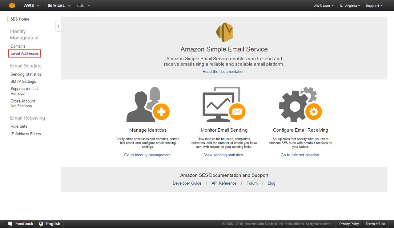 Verify new email address on Amazon SES Console.