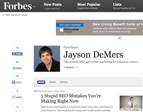 Forbes web site to find writers.
