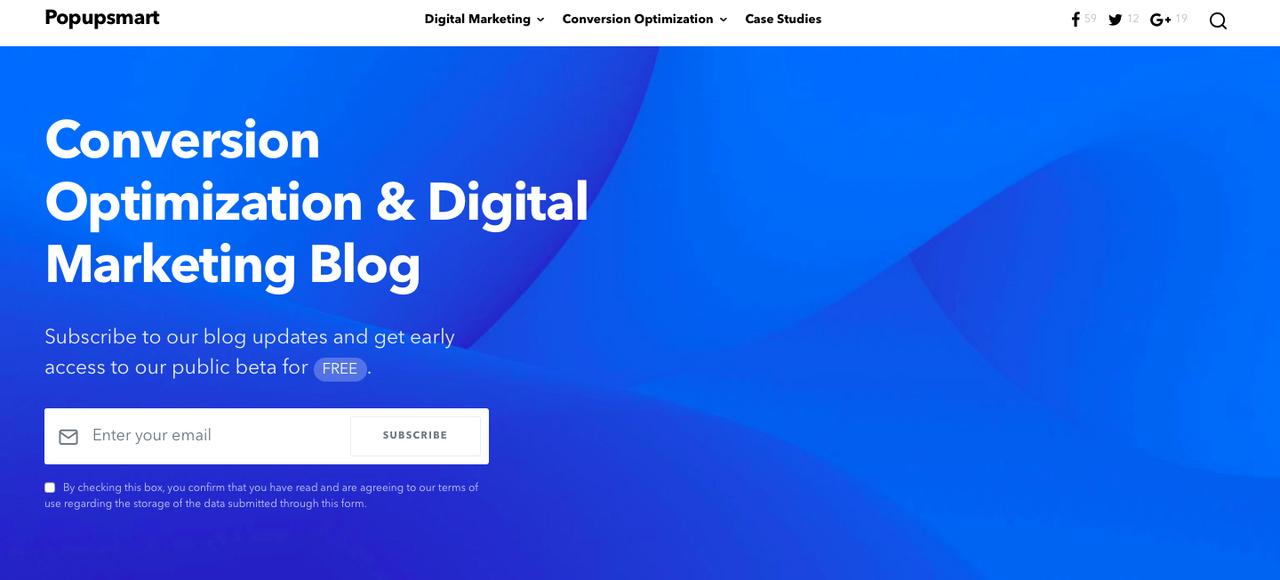 Popupsmart conversion optimization and digital marketing blog page.