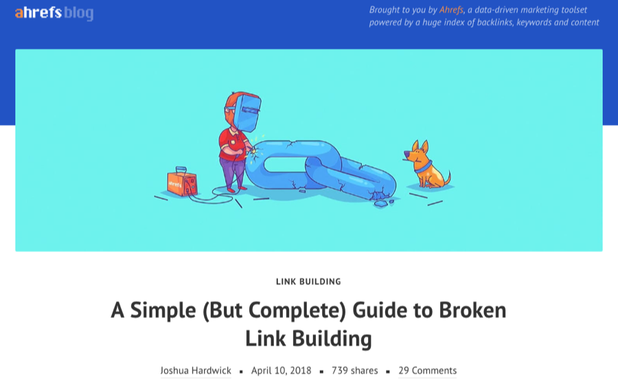 Broken link building blog on Ahrefs.
