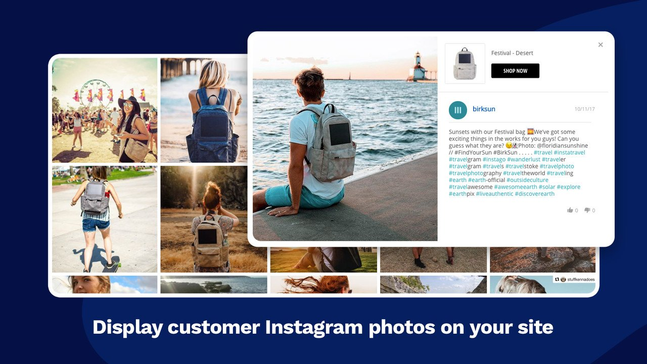Display customer Instagram photos on your website with Yotpo application.