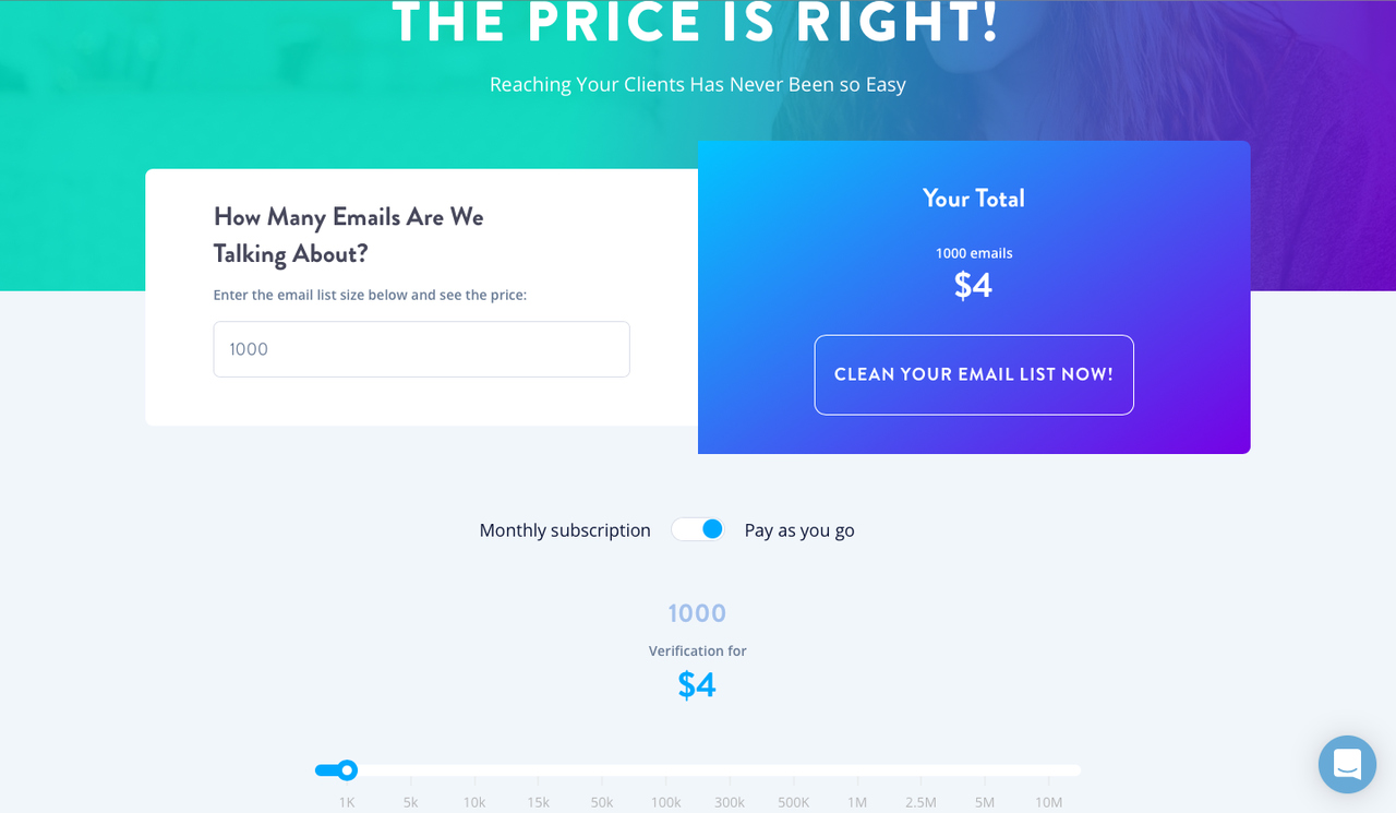 Pricing page of Email List Verify email cleaning service.