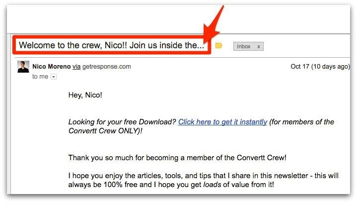 Example image of a creative email subject line.