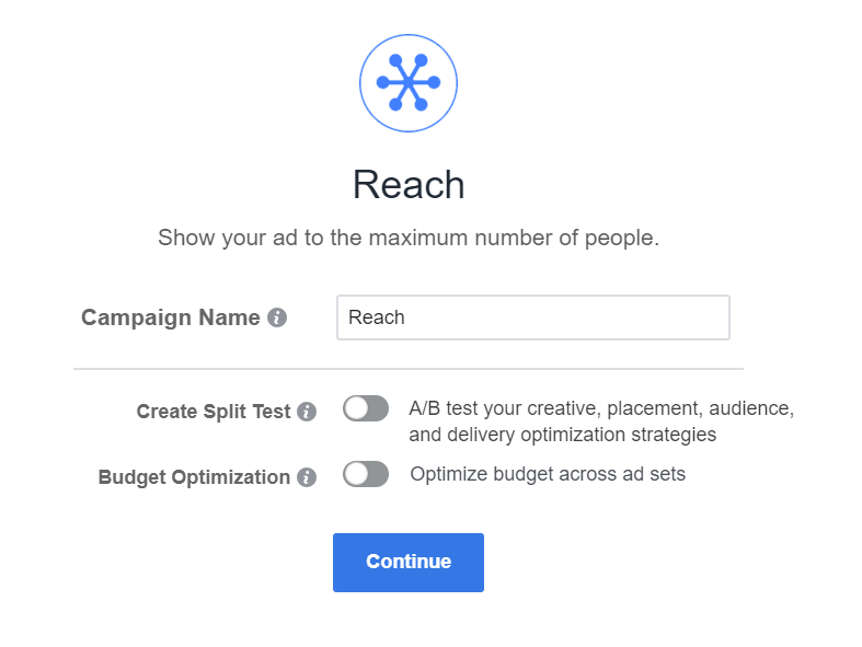 Facebook reach campaign objective example.