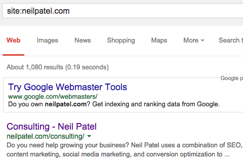 Image of the Neil Patel indexed pages.