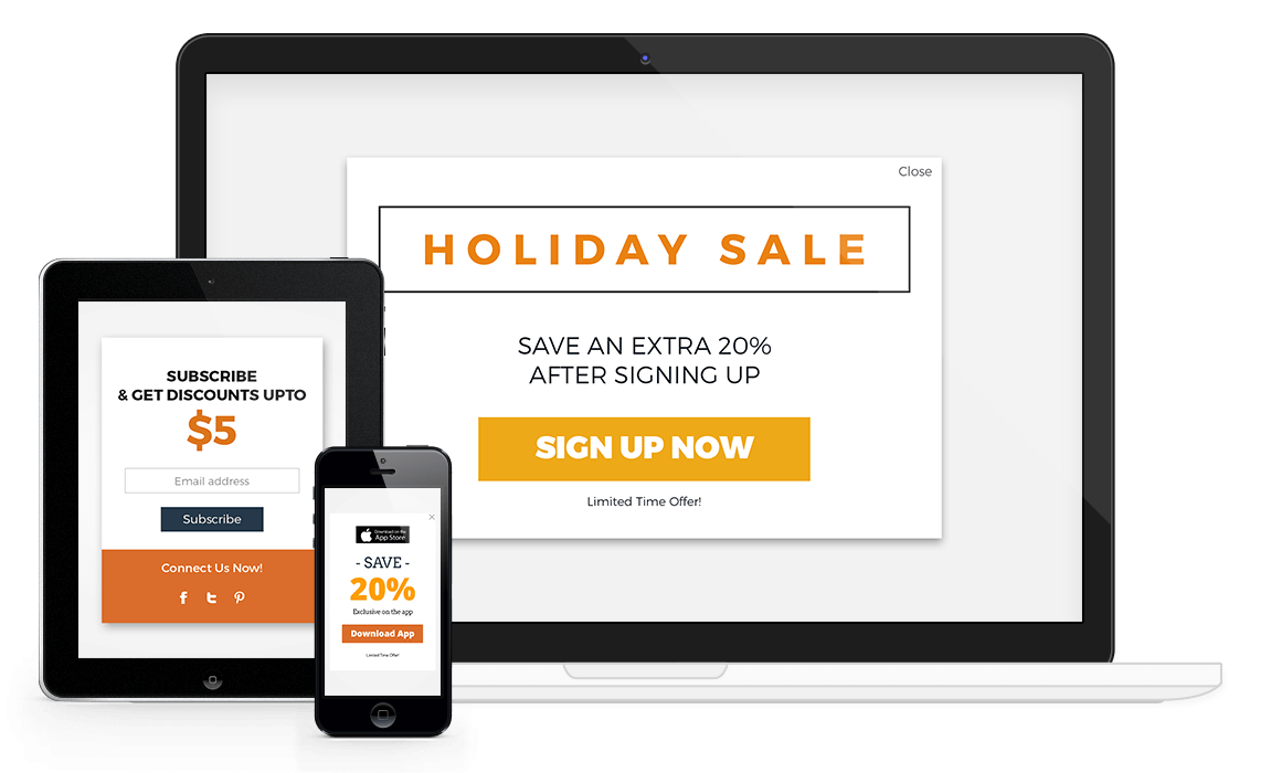 Responsive popup design example to increase conversions.