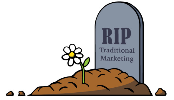 Illustration of RIP traditional marketing.