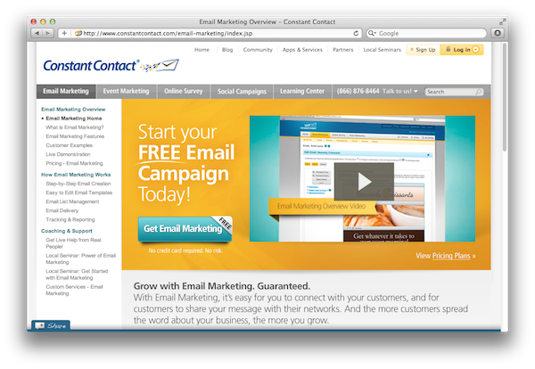Image of constant contact marketing homepage.