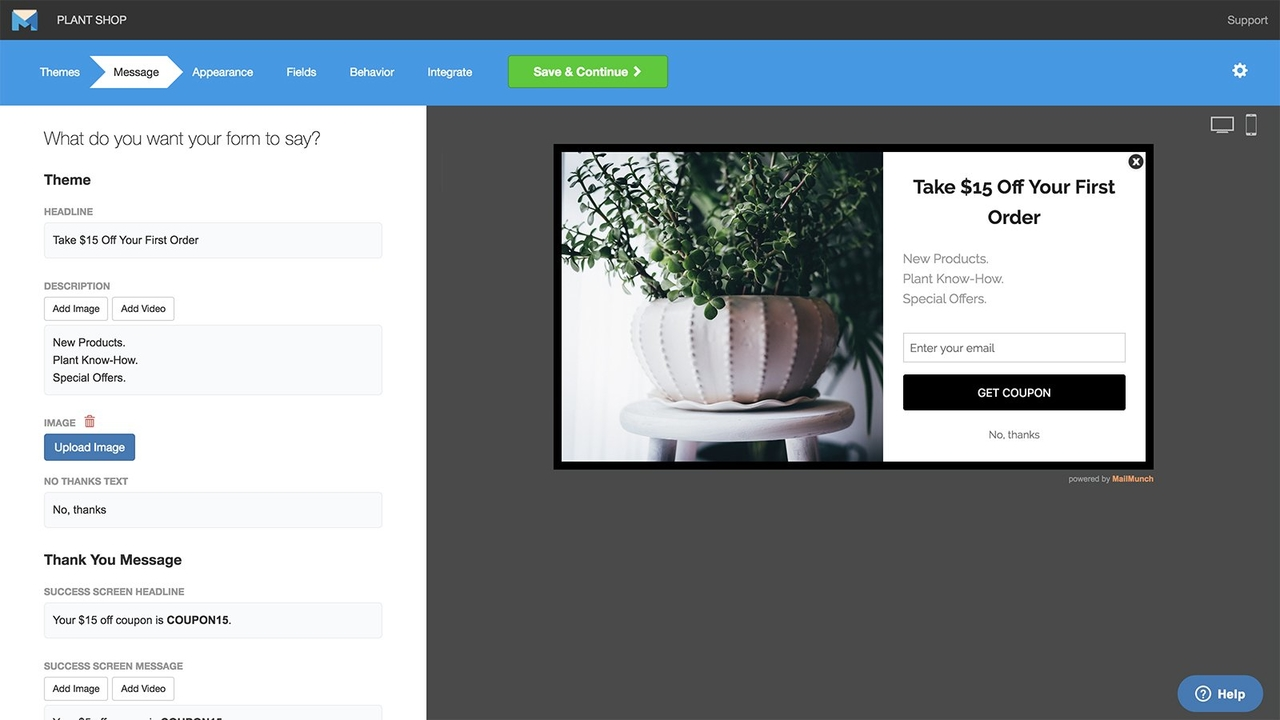 MailMunch Shopify popup builder.