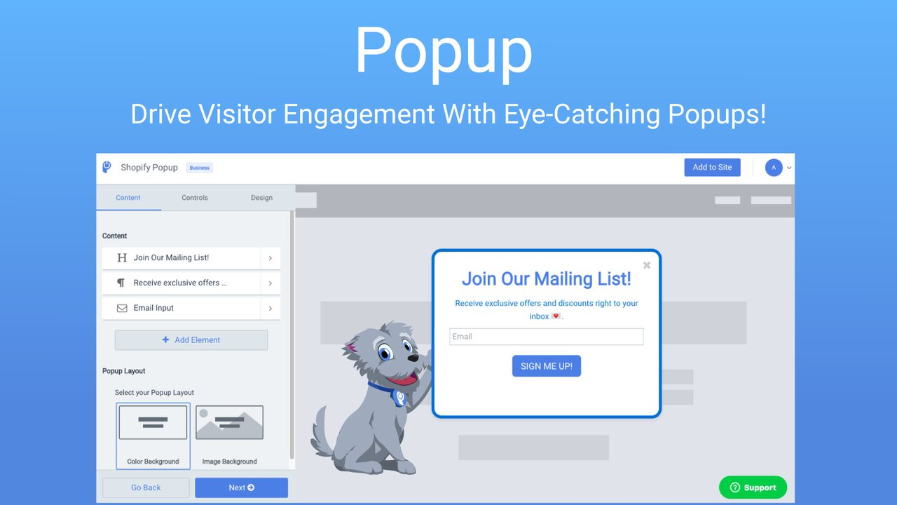 Popup Easy Free Shopify plugin example.