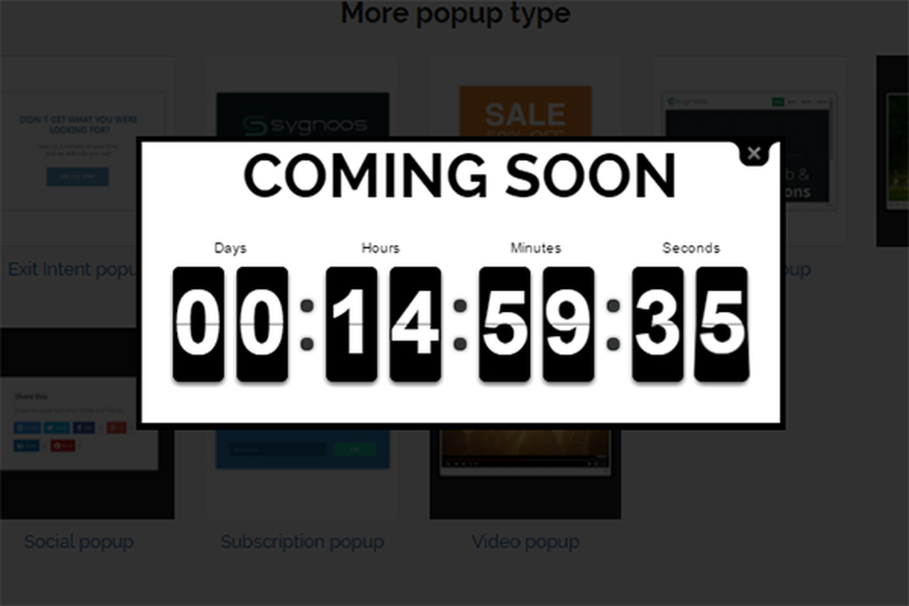Countdown popup example of Popup Builder.
