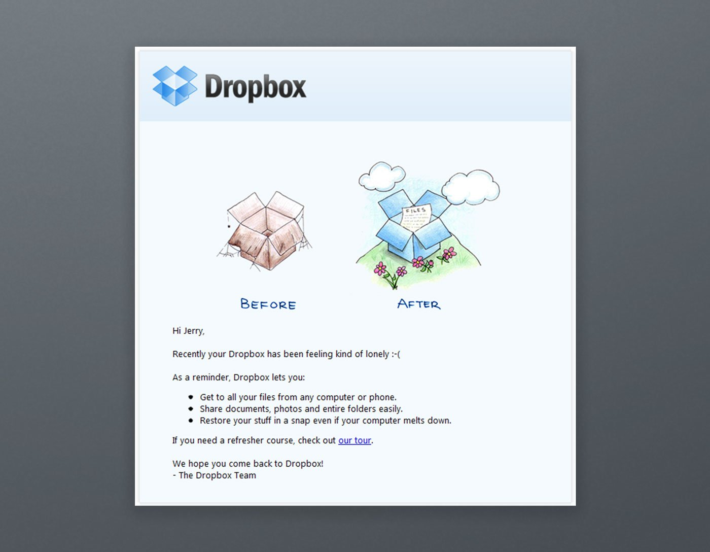 Dropbox Email Marketing Newsletter