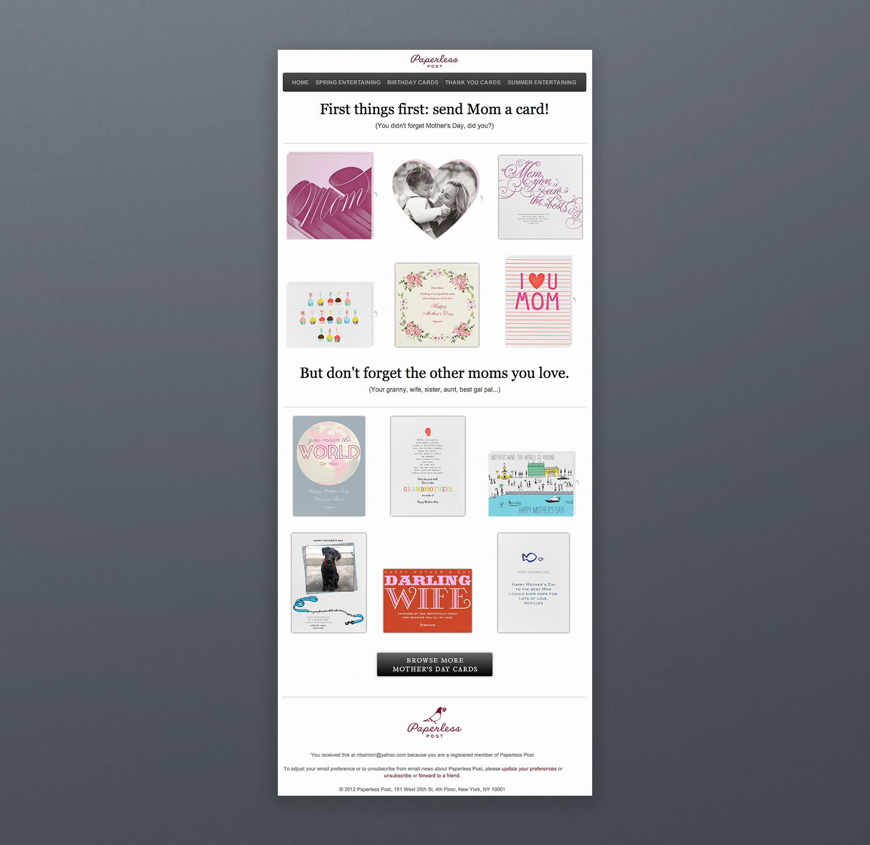 Paperless Email Marketing Newsletter Inspiration Mom Card