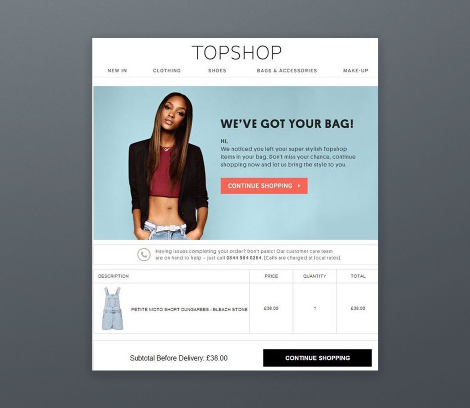 Topshop Email Marketing Example