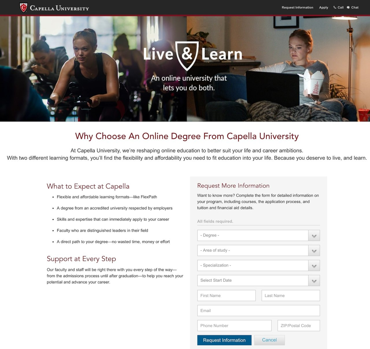 Capella University landing page example