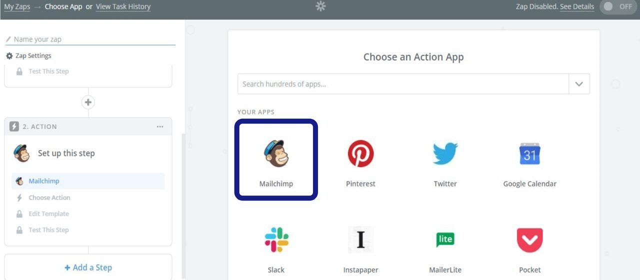choose an action app for continuing to create zap in zapier