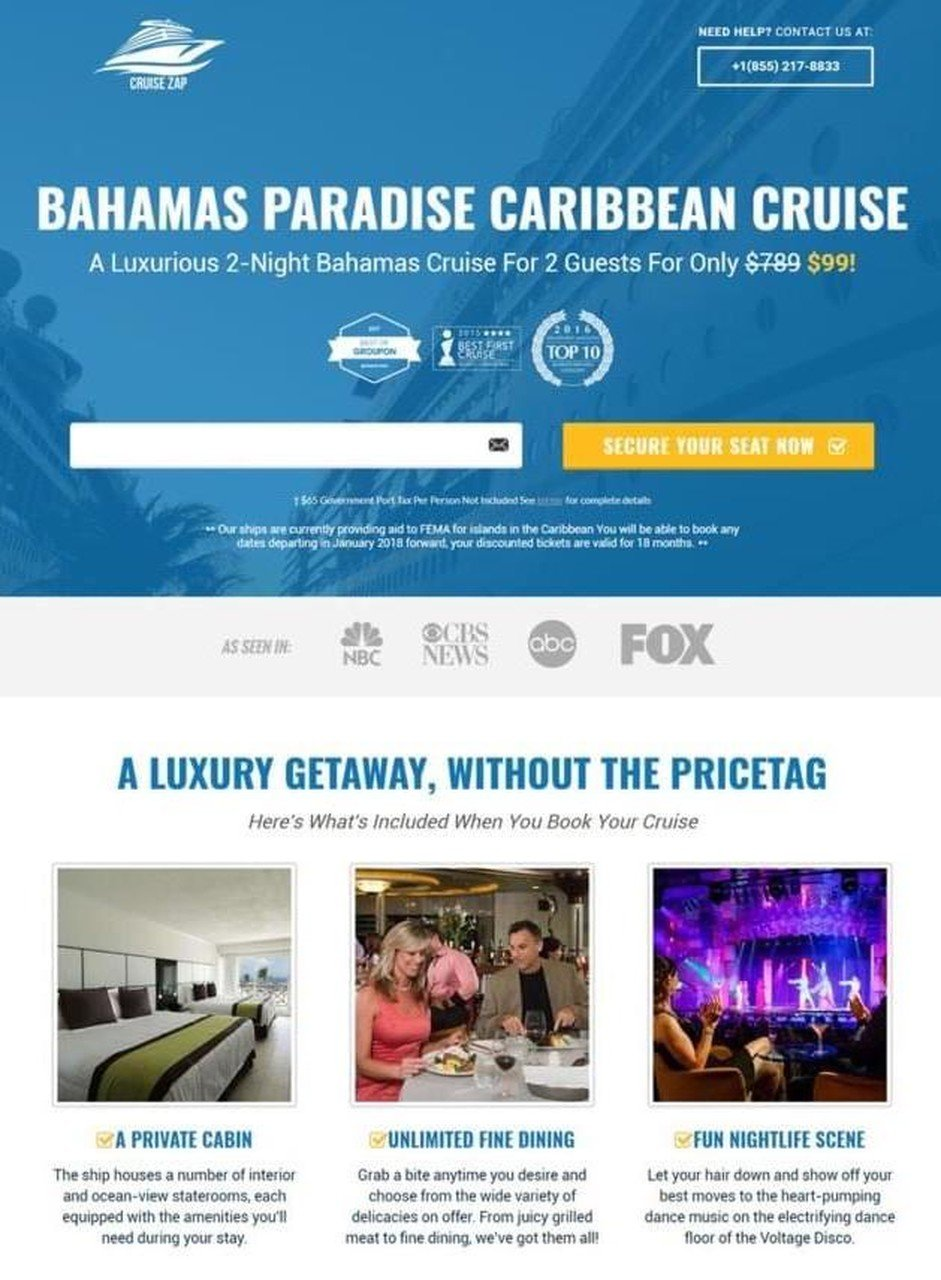 Cruise Zap landing page example