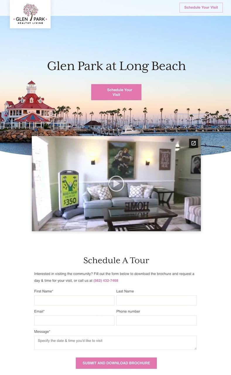 Glen Park landing page example