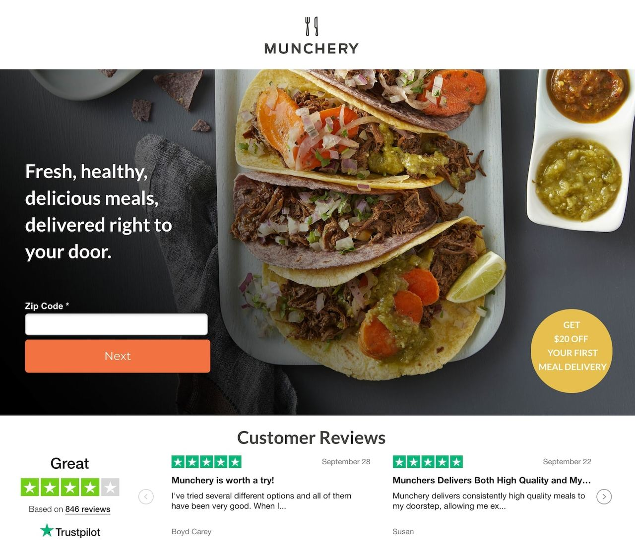 Munchery landing page example