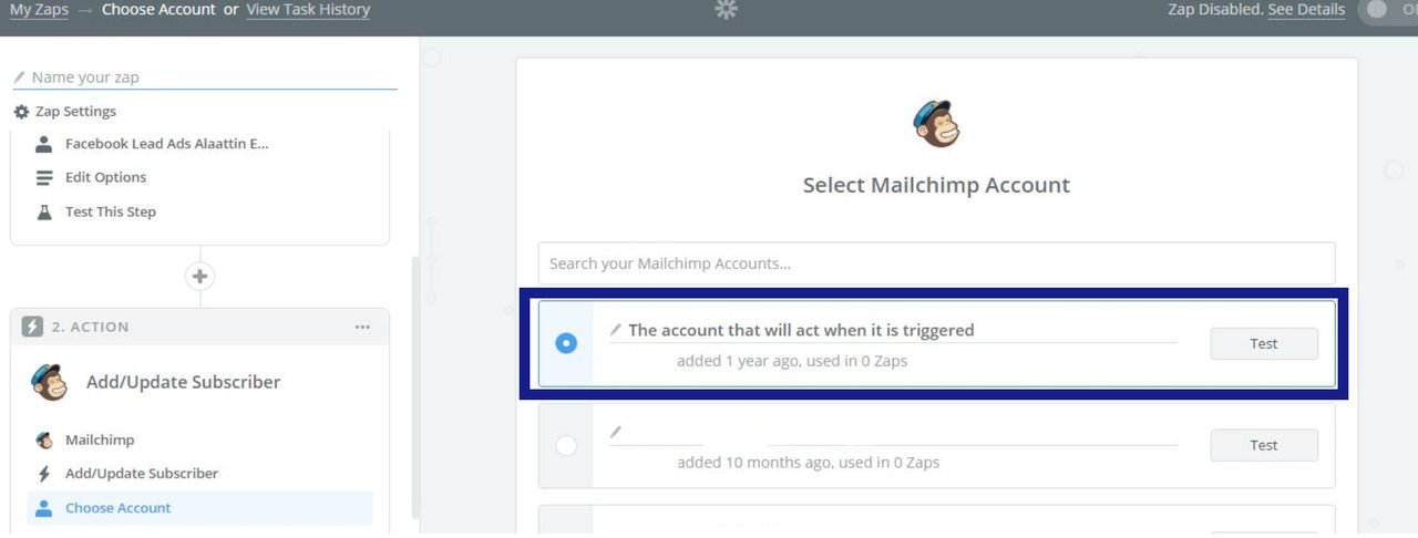 Select an account for action app in zapier image