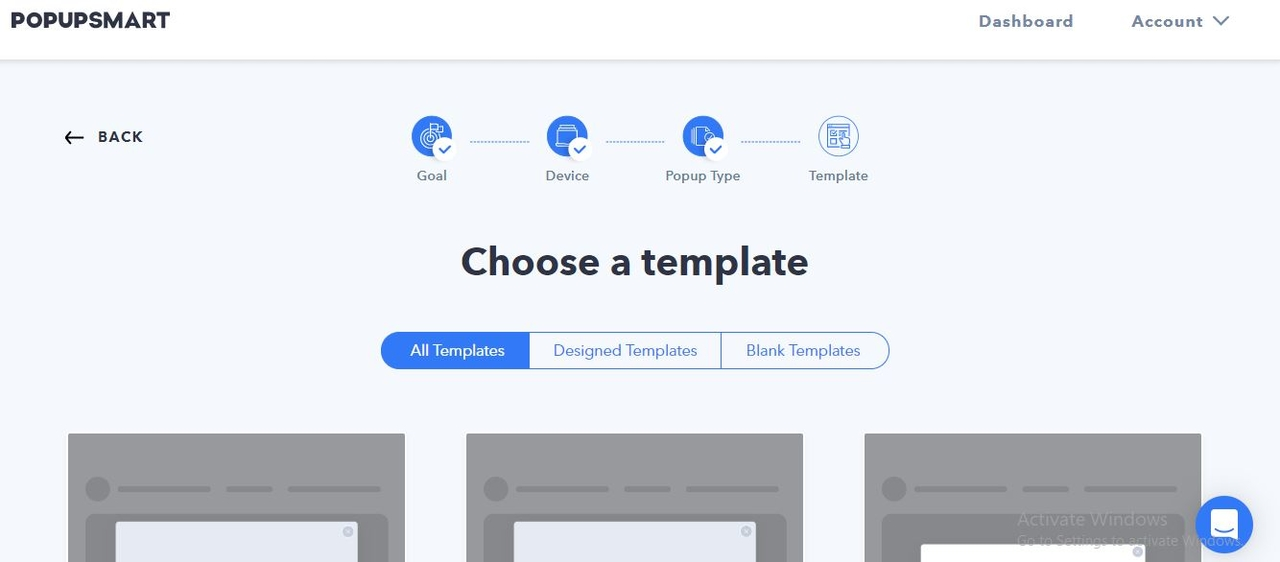 Choose a template for your popup design