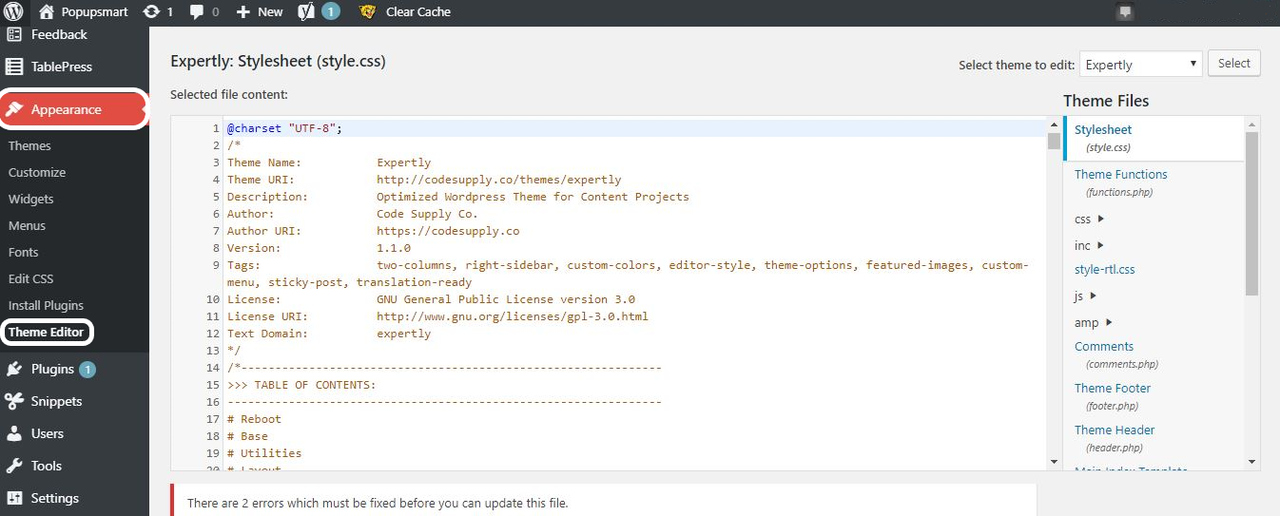 wordpress appearance section view